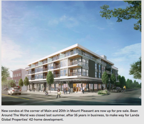New Condos On Former Mount Pleasant Coffee Shop Site Now Up For Pre-sale