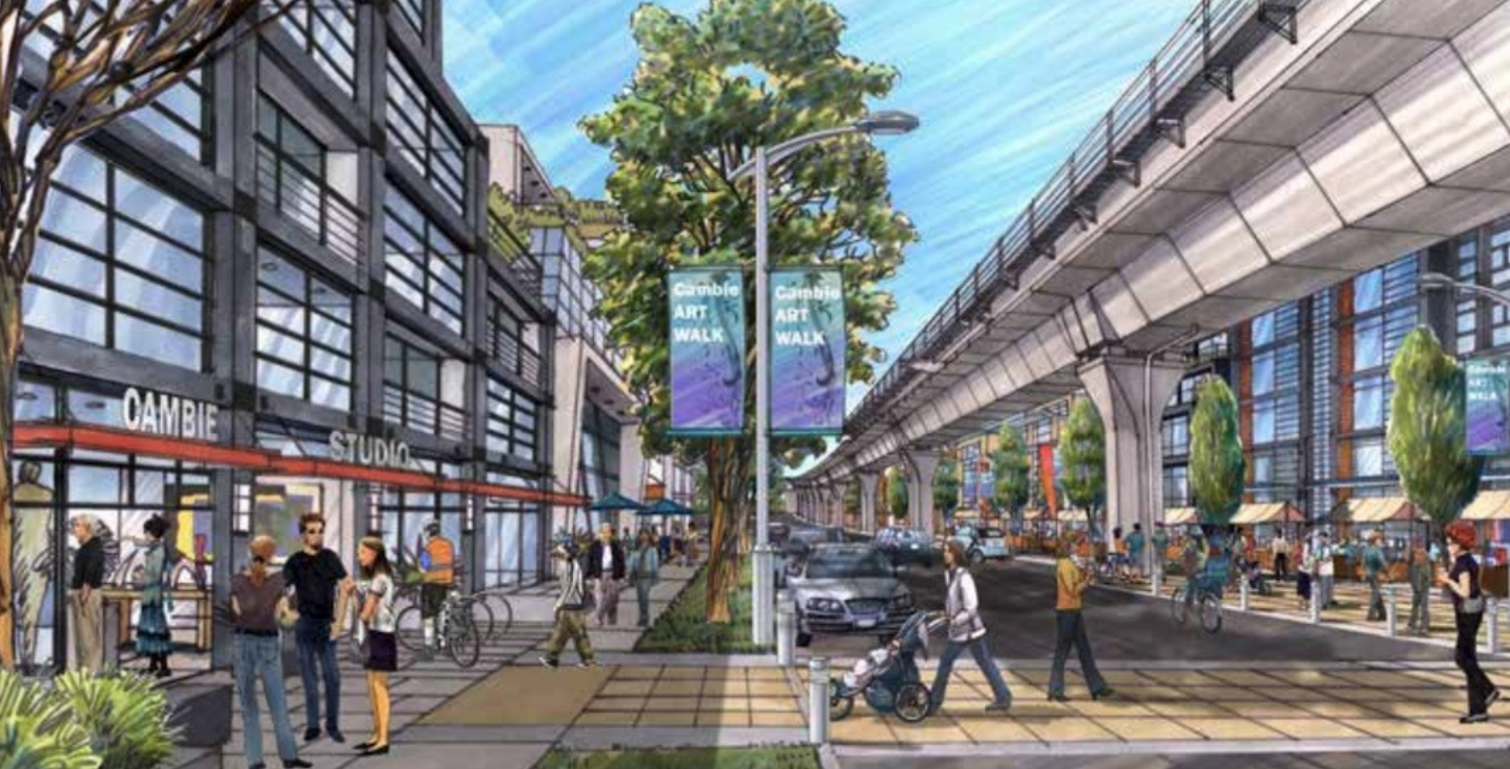 Rendering Of Cambie Street Of Marine Drive To The Fraser River
