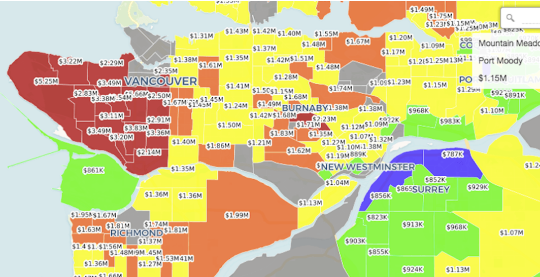 This Interactive Heat Map Shows Where Lower Mainland Real Estate Is Priciest