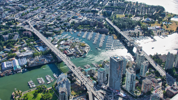 The Burrard Bridge & Granville Bridge In Vancouver Aerial View