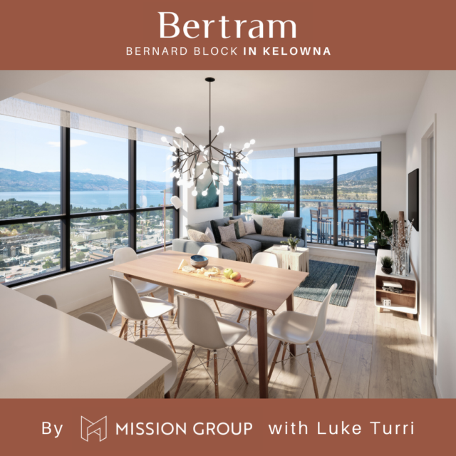 Bertram In Kelowna new condos - rendering of living area